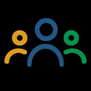 Icône 3 personnages dont un bleu, un vert et un jaune