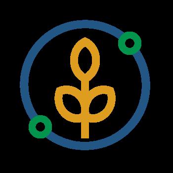 Icône agriculture blé jaune avec cercle bleu et deux points verts